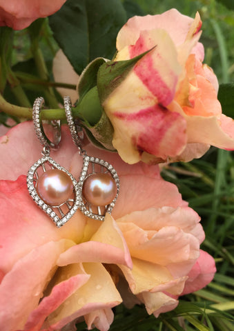 Sterling Silver Pearl Earrings and Pendant with Chain Set,Pendants,Pearl Earrings,Silver Earrings,Pearl Pendant