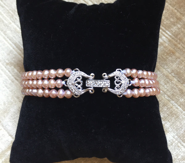 Designer Vintage Pearl Bracelet, Limited Edition - MonyaFlora.com Poetic Nature-Inspired Jewelry and Fashion Accessories