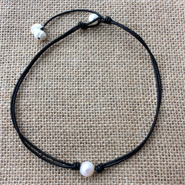 Handmade Leather Choker with Natural Pearls,Chokers,Leather necklace
