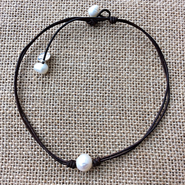 Handmade Leather Choker with Natural Pearls,Chokers,Leather neckalce