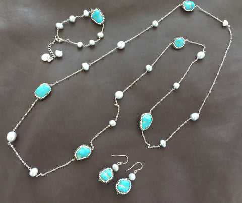 Handmade Pavé Turquoise and Pearl Necklace