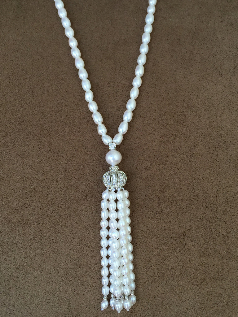 AA Quality Pearl Handmade Tassel Necklace  - Timeless Elegance