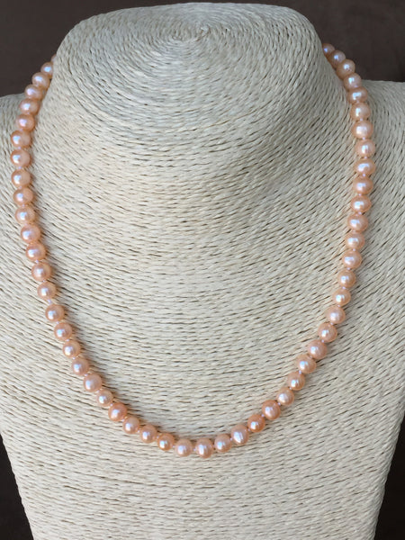 AAA Quality Pearl Strand in Salmon Color,Pearl Necklace,Classic Pearl Strand,genuine pearl strand,genuine pearl necklace,natural pearl necklace,hand-knotted genuine large multi-color pearl necklace by Monya Flora