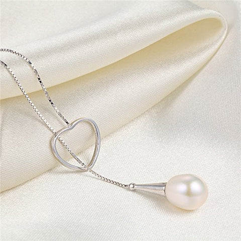 Silver Lariat Necklace with Teardrop Natural Pearl,Pearl Pendant Necklace