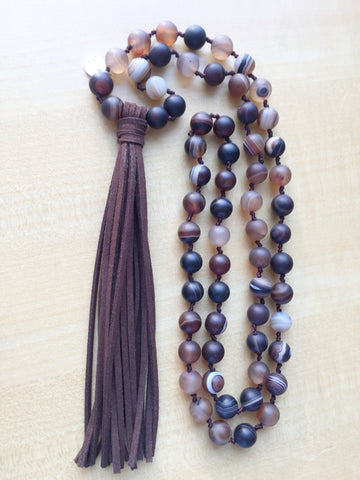 Planets, Handmade Jasper Stone Long Tassel Necklace