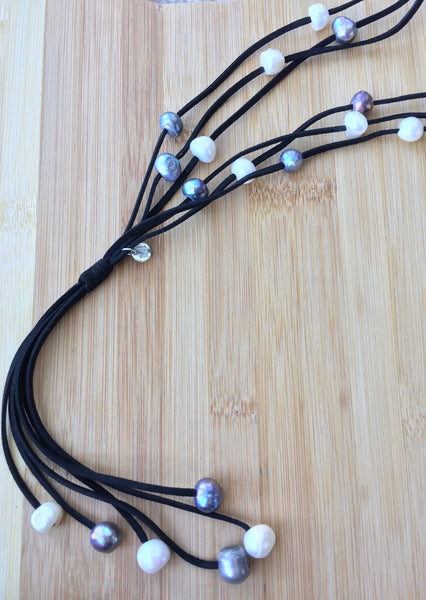 Designer Handmade Pearls on Leather Tassel Boho Necklace - MonyaFlora.com Poetic Nature-Inspired Jewelry and Fashion Accessories