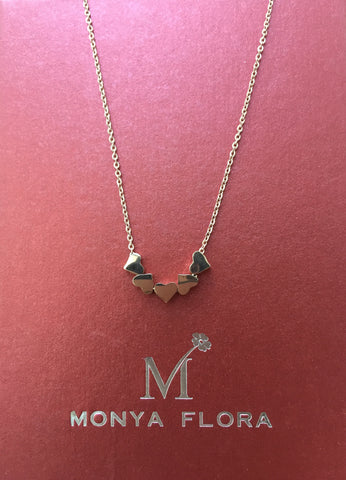 Five Floating Hearts Necklace. Delicate Necklace