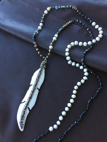 Handmade Crystal and Genuine Pearl Long Necklace with Pave Feather Pendant by Monya Flora