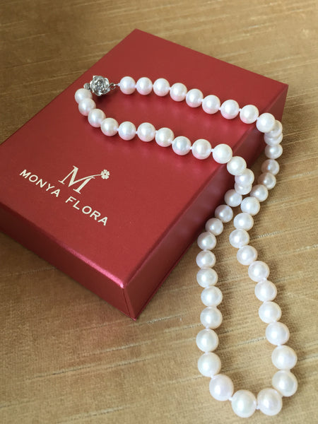 AA Quality Genuine White Pearl Necklace,White Pearl strand,natural pearl necklace,Pearl Strand,natural pearl necklace by Monya Flora