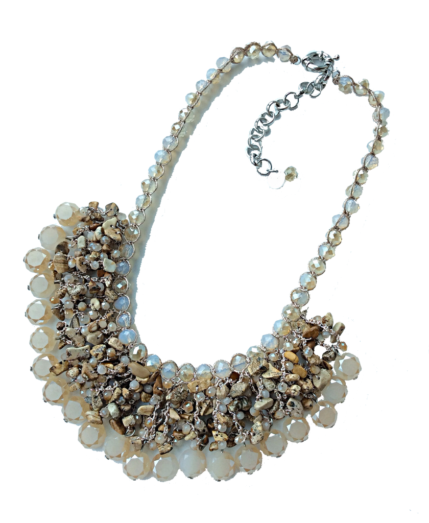 Designer Handmade Glass Bead Statement Necklace By Monya Flora,Beaded Statement Necklace,Bib Necklace,Dressy Necklace
