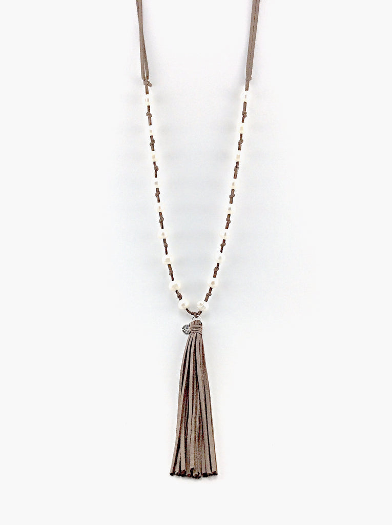 Fantastic Handmade Pearl and Leather Tassel Necklace, leather necklace for  KQ38