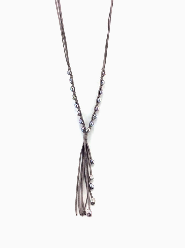 Well-known The Wave - Handmade Leather and Pearl Long Necklace with Tassel  GE49