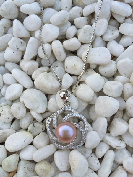 Flower Pearl Pendant & Silver Chain,Pearl Pendant Necklace,Single Pearl Necklace