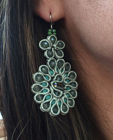 Handmade Floral Statement Earrings,Green Earrings,Fashion Earrings