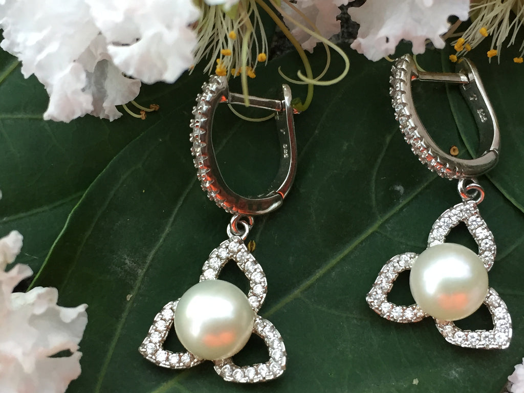 Designer Lotus Pearl Earrings in Sterling Silver - MonyaFlora.com Poetic Nature-Inspired Jewelry and Fashion Accessories