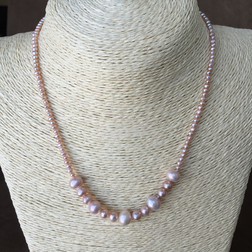 Pink Pearl Strand, Natural Pearl Necklace, Bridal Necklace, Single Strand Pearl , Genuine Pearl Necklace, Genuine Pearl  Strand, Freshwater Pearl Necklace