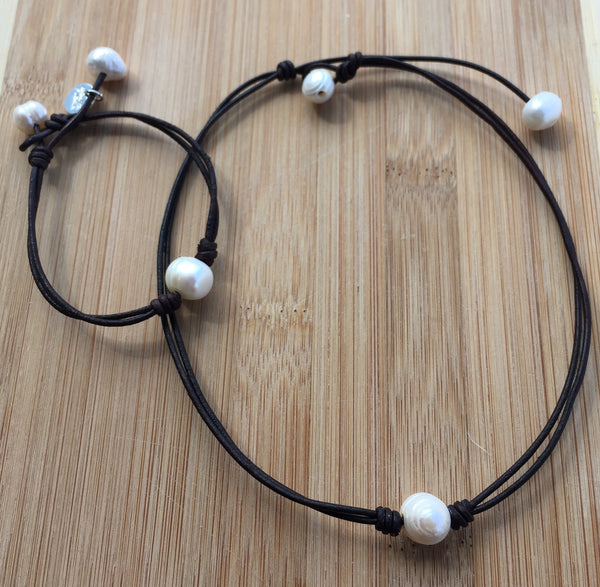 Handmade Leather Choker and Bracelet Set with Single Pearl