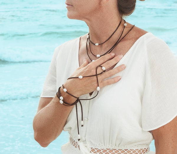 Leather and Pearls Necklace,Leather Wrap,Leather necklace,wrap bracelet