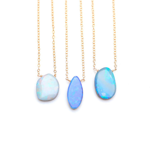 Opal slice necklace