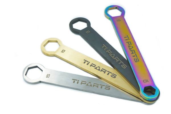 Ti Parts Workshop Closed Double Ended Titanium Wrench 10 & 15mm