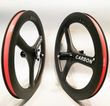 "Carboncian 18"" 355 3 Spokes Carbon Wheelset for Birdy Bicycle"