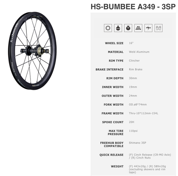 Hubsmith HS-Bumbee A349 3SP Black Wheelset for Brompton Bicycle