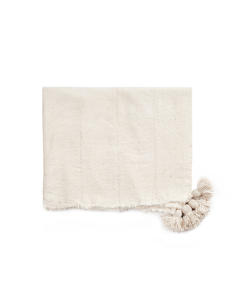 Mud Cloth PomPom Throw