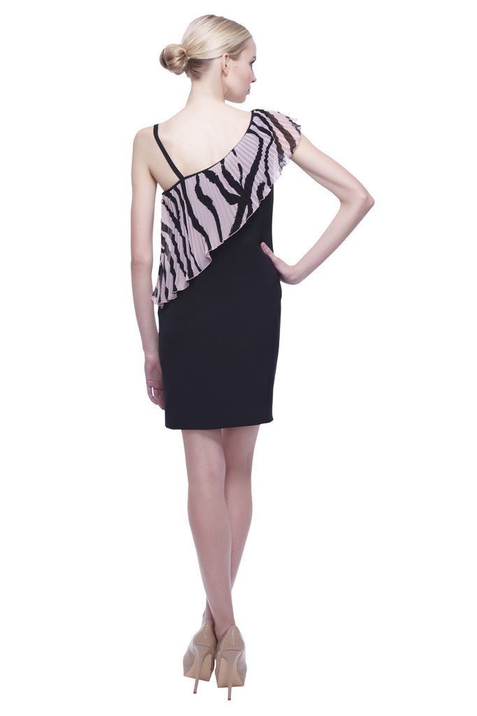 Asymmetrical Pleated Drape Dress