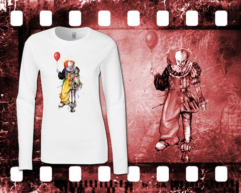 IT - Pennywise - Ladies White Long Sleeve Shirt