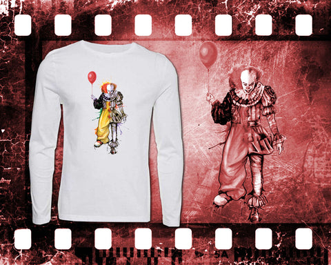 IT - Pennywise - Mens White Long Sleeve Shirt