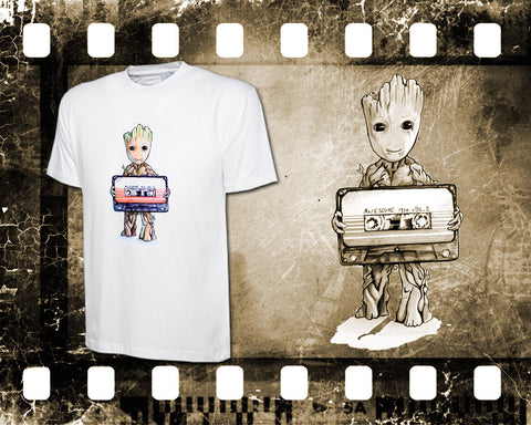 Original Art Inspired by Guardians of the Galaxy - Baby Groot - Mens White T-Shirt