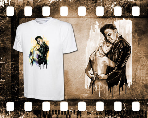 Original Art Inspired by Buffy the Vampire Slayer - Buffy and Angel - Mens White T-Shirt