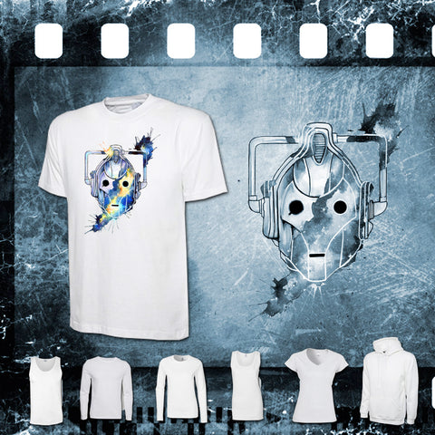 Dr Who - Cyberman - Mens and Ladies White Shirt/Hooded Top