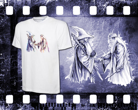 Original Art Inspired by Harry Potter and Lord of the Rings - Gandalf and Dumbledore - Mens White T-Shirt