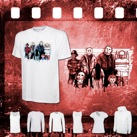 The Horror Line Up - Mens and Ladies White Shirt/Hooded Top