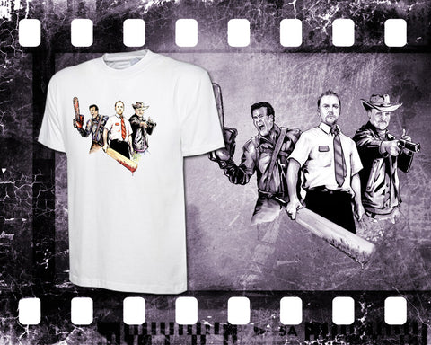 Original Art Inspired by Evil Dead, Shaun of The Dead and Zombieland - Mens White T-Shirt