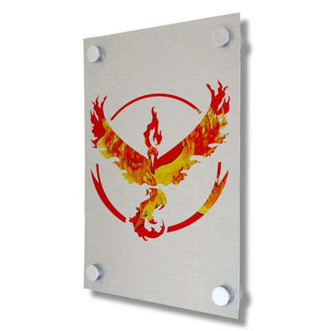 Pokemon Go - Team Valor - Brushed Metal Print
