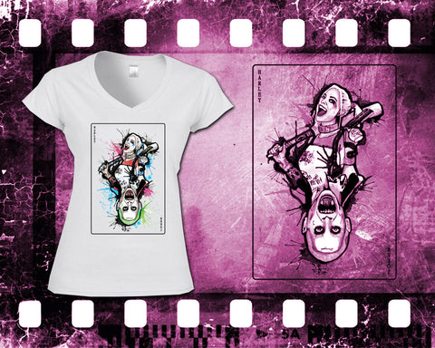 Suicide Squad - Harley & Joker - Ladies White T-Shirt