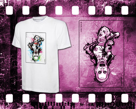 Original Art Inspired by Suicide Squad - Harley Quinn and Joker - Mens White T-Shirt
