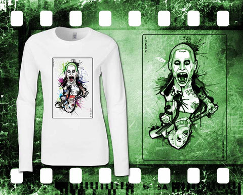 Suicide Squad - Joker & Harley - Ladies White Long Sleeve Shirt