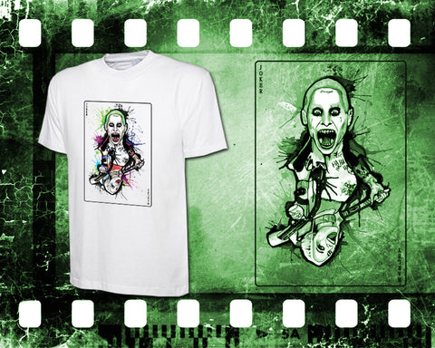 Original Art Inspired by Suicide Squad - Joker and Harley Quinn - Mens White T-Shirt