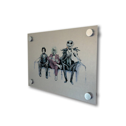 Tim Burton Cast - Beetlejuice, Ed and Jack - Brushed Metal Print