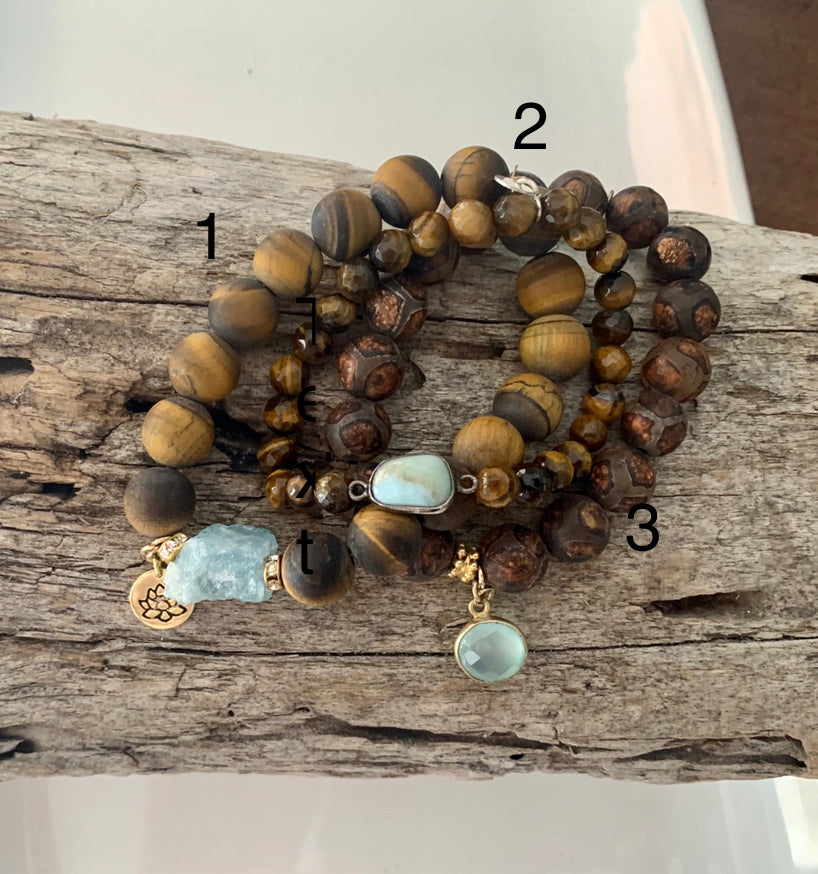 Tigers Eye and Tibetan Agate Bracelets