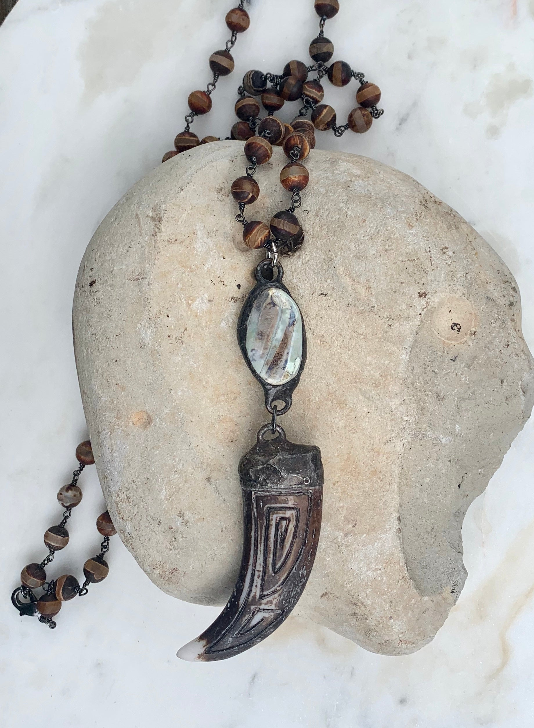 Tibetan Agate Beads and Horn Necklace