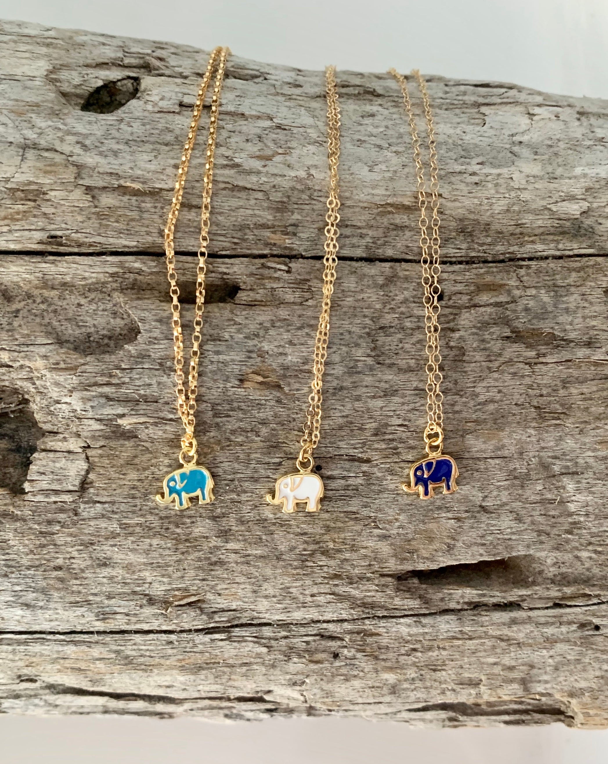 Enamel Elephant Necklace