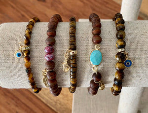 Agate and Tigers Eye Bracelets