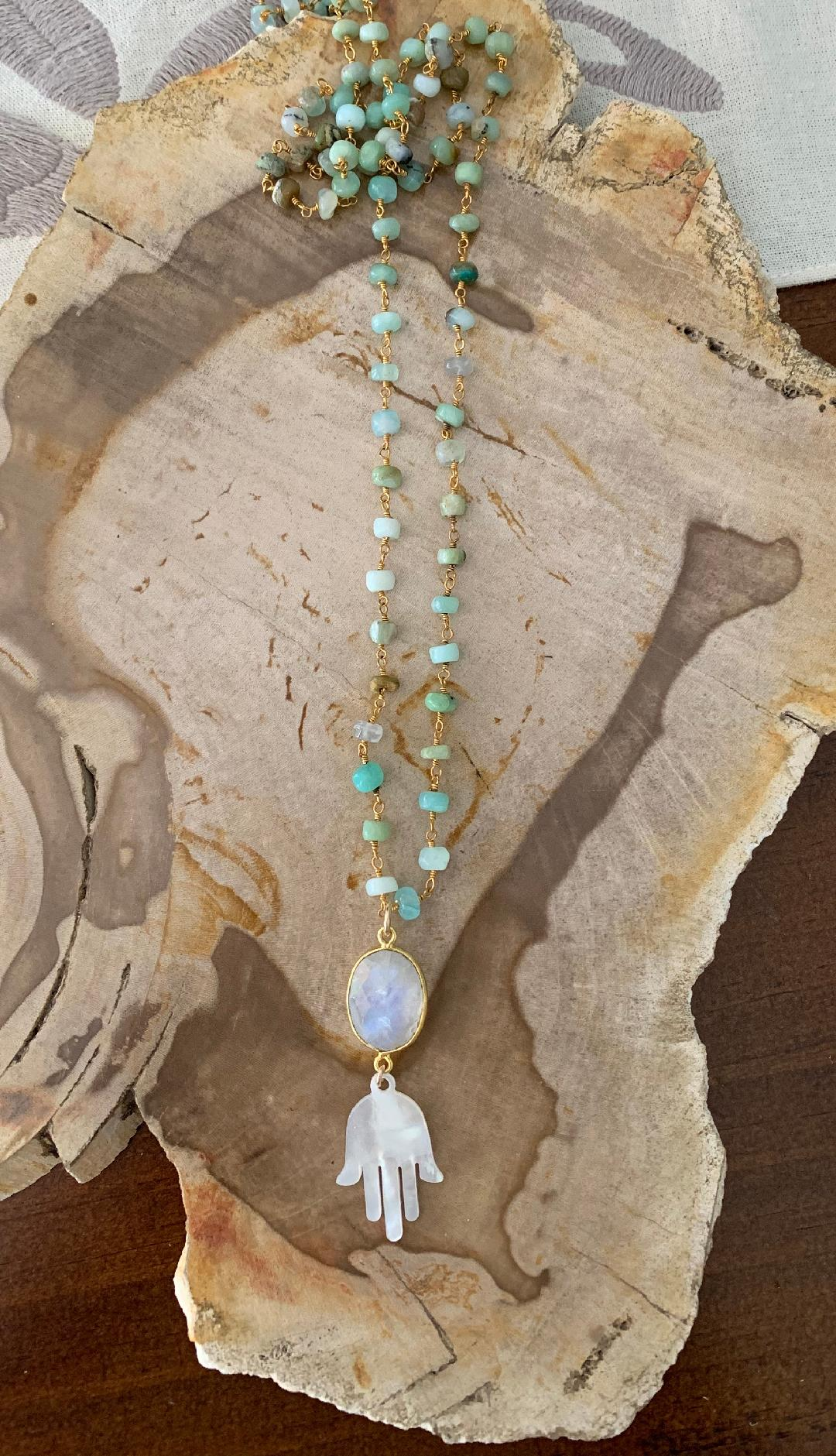 Moonstone and Hamsa Necklace