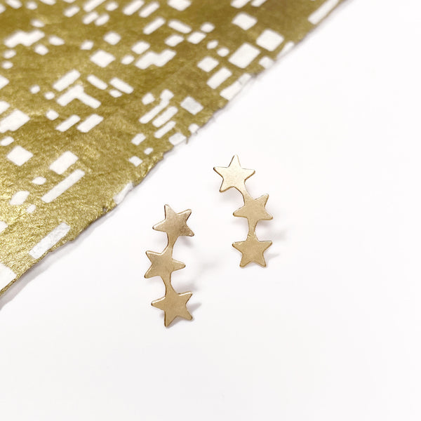 dora mae gold filled star climber earrings