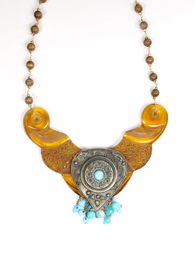 1960's amber acrylic bib necklace layered with 1970's silver and turquoise fringe