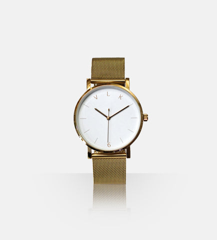 True6 Women's Watch 041: White + Gold - vlkwatches
